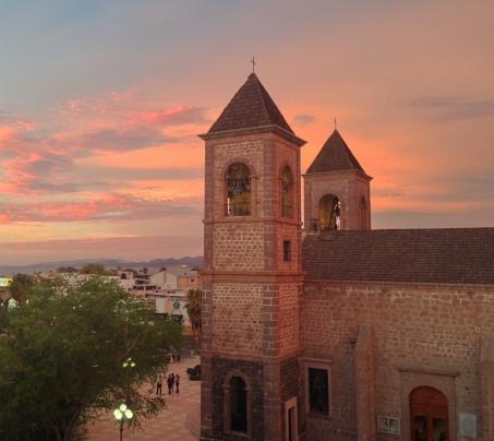 La splendida cattedrale di La Paz, dalla terrazza dell'hotel La Catedral